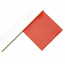 "18"" X 18"" Safety Flag Mesh W/ Wood Dowel Rod 5/8""  X 36"" - Orange"