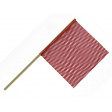 "18"" X 18"" Safety Flag Mesh W/ Wood Dowel Rod 3/4""  X 36"" - Red"