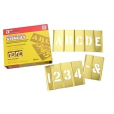 4 in Brass Interlocking Stencils Letters and Numbers 45 Piece Set