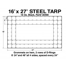 16'W X 27'L Steel Tarp 16 Oz Black - 4' Drop Tarp